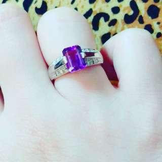 Platinum ring with diamonds and amethyst stone