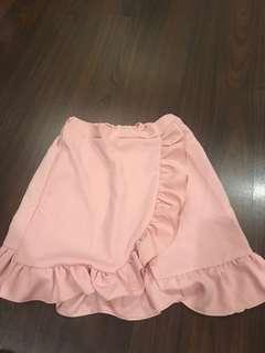 Pink Ruffled Mini Skirt