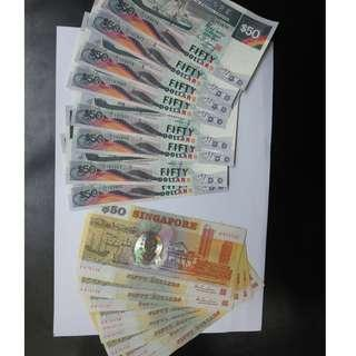 singapore $50 ship and polymer running numbers unc, $57, $63