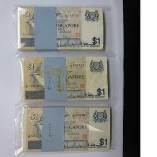 singapore bird $1 notes unc running numbers one stack, $168 each