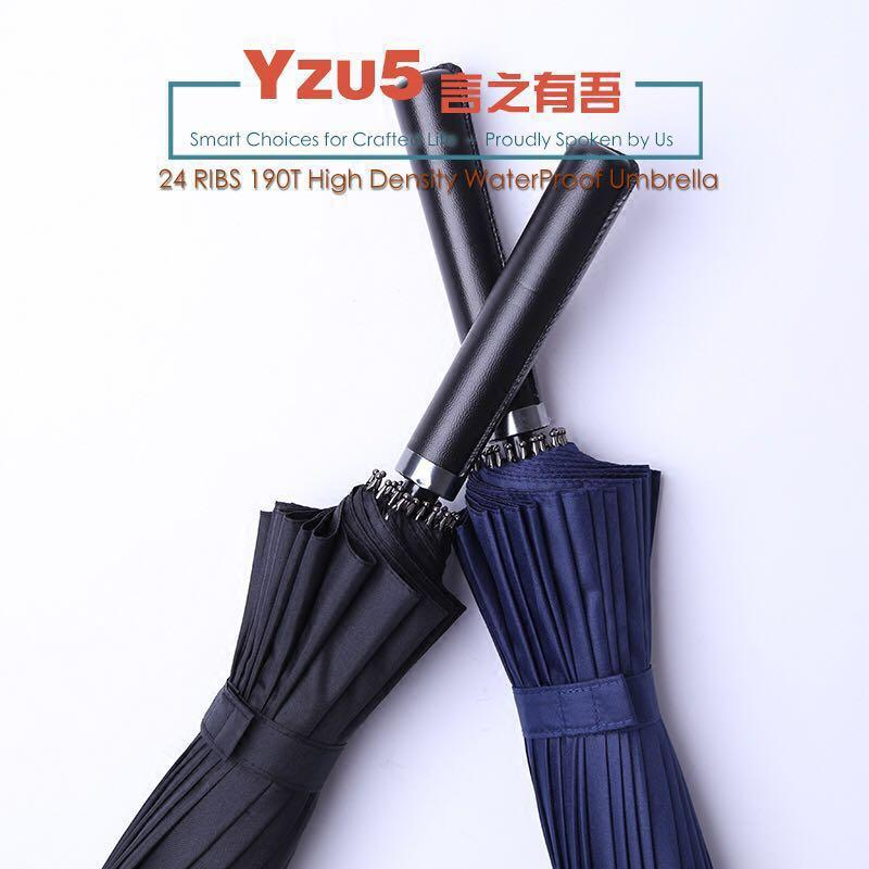 24 Ribs 190T High Density Big Golf Business Super Gentleman Umbrella Leather Handle Huge 1~3 pax Black Blue Green Red FREE COVER BAG CASE SPF 50+