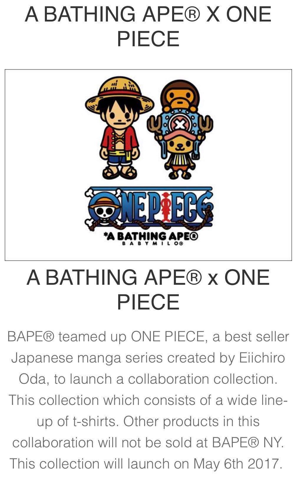 87600500 A Bathing Ape x One Piece Characters Ape Head Tee, Men's Fashion ...