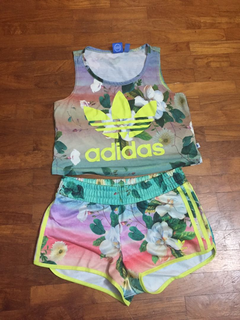 adidas crop top and shorts