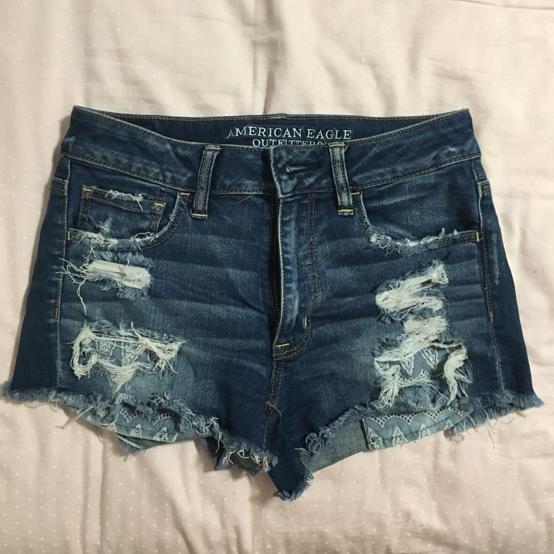 American Eagle Hi-rise Distressed Denim Shorts