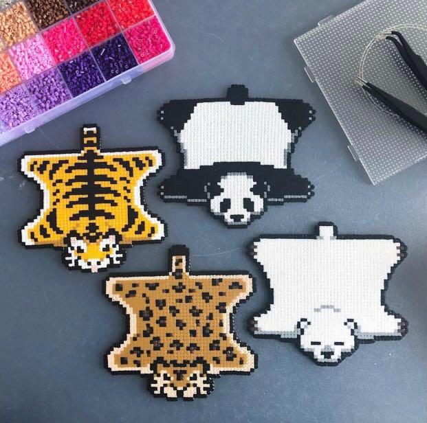 Animal Skin Customisable Perler Beads Keychains Luggage tags