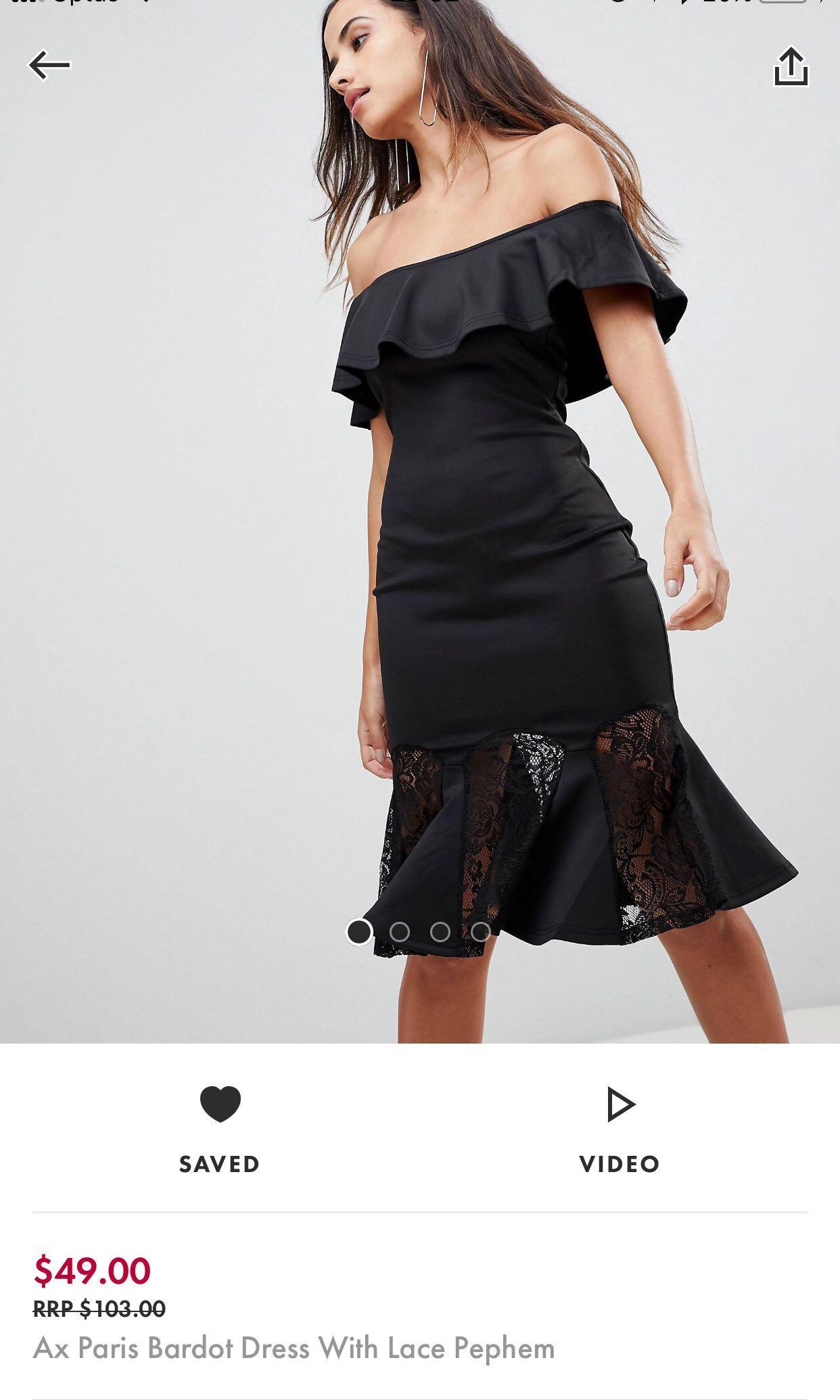 Asos off the shoulder black dress