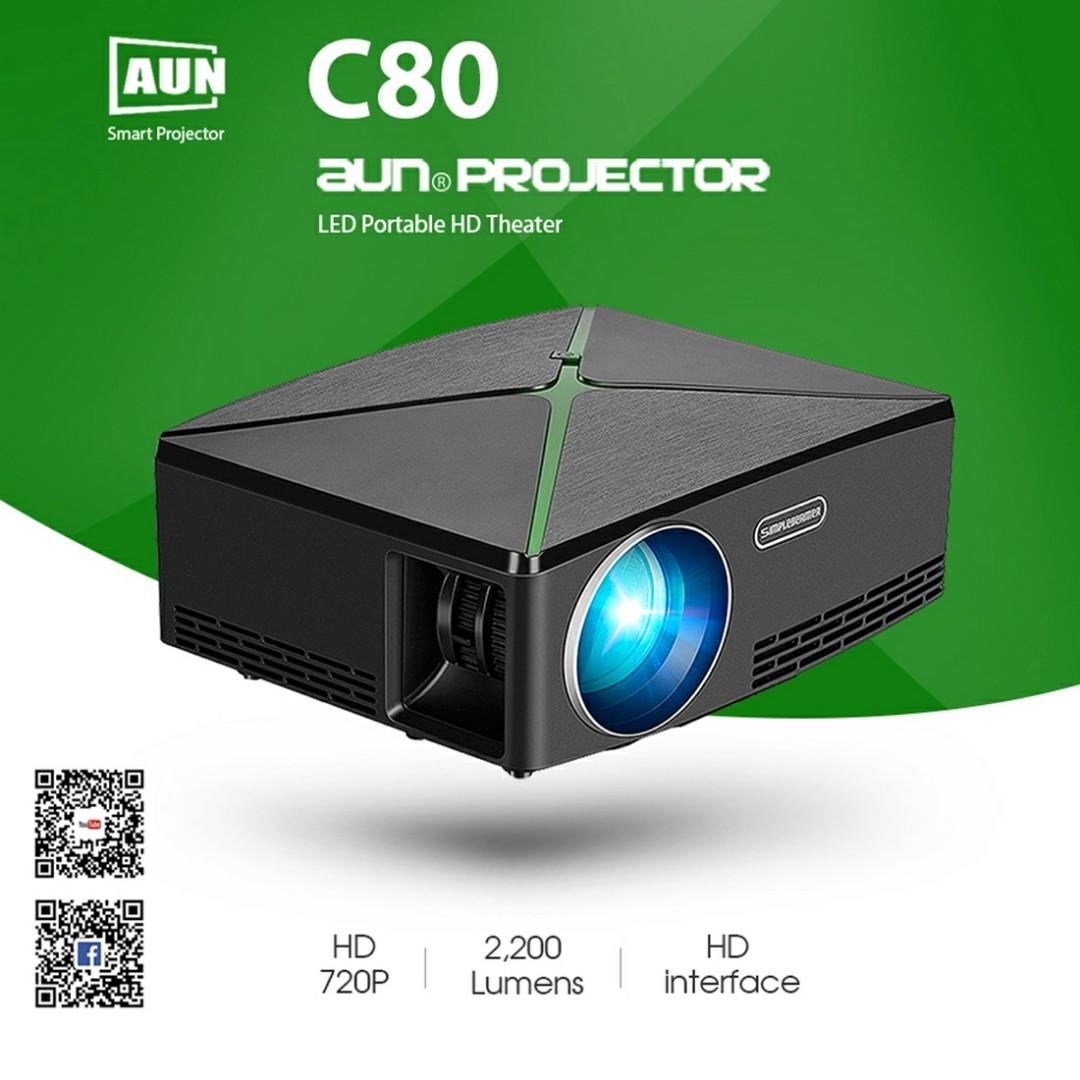AUN C80 2200 Lumens 1280 x 720P LED Portable HD Theater Projector