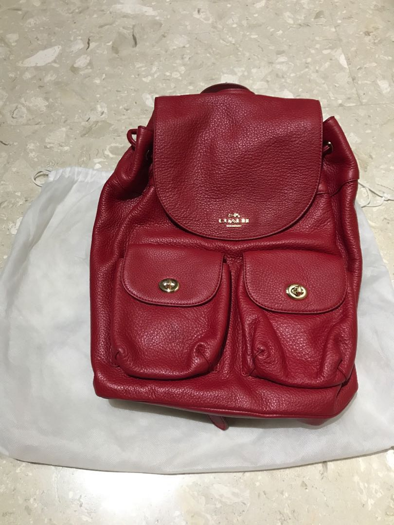 2f6e5f22a971 Authentic Brand New Coach Ladies Drawstring Leather Backpack