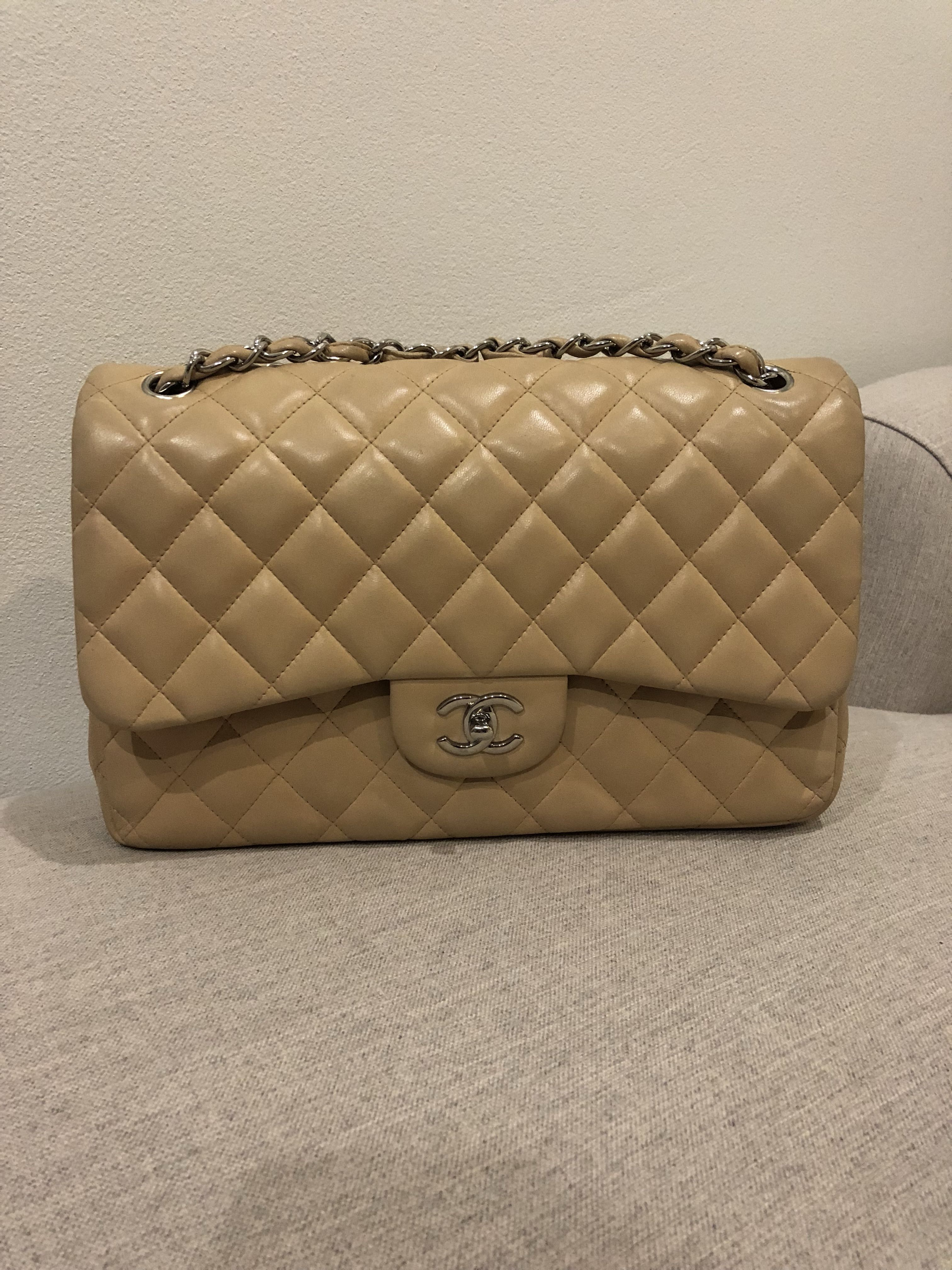ac4723f82e98 Authentic Chanel Beige Lambskin Quilted Double Flap Jumbo Bag ...