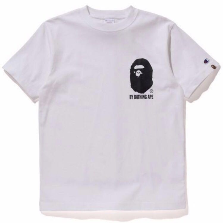 0e352b6b6 [BNDS] BAPE x Champion White Tee Shirt, Men's Fashion, Clothes, Tops on  Carousell