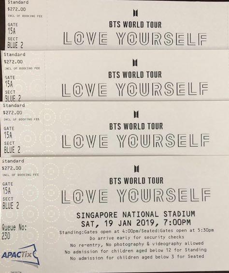 Bts Concert Ticket Entertainment Events Concerts On