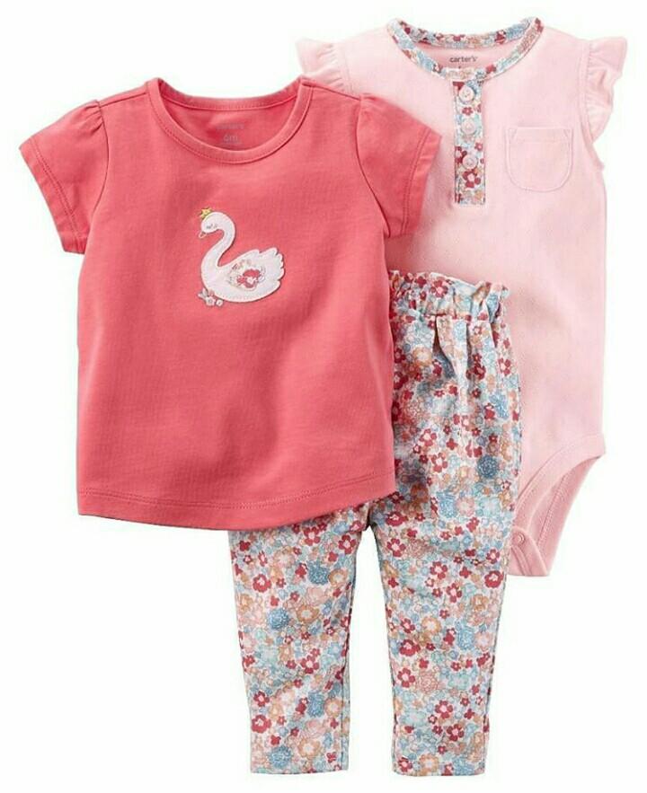 087111592 Carter's 3 Piece Floral Swan Bodysuit Pant Set, Babies & Kids ...