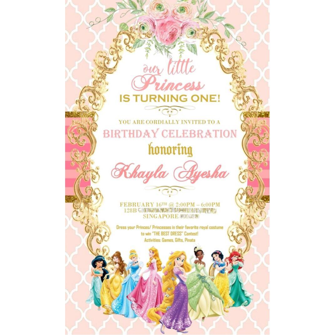 Customise Princess Theme Birthday Invitation Digital Card