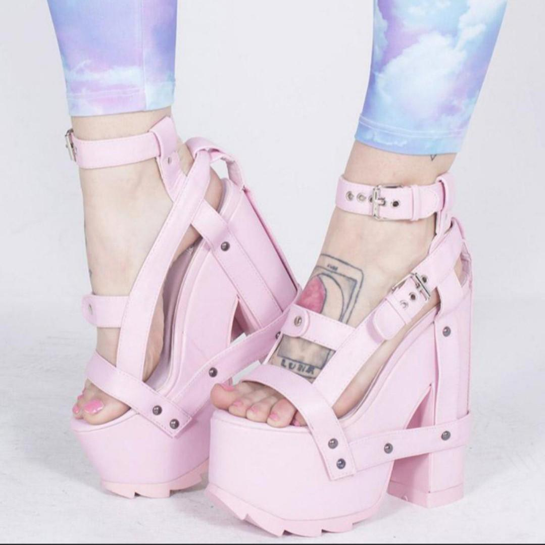 83d2011b660 dollskill yru pink Platforms Heels, Women's Fashion, Shoes, Heels on ...
