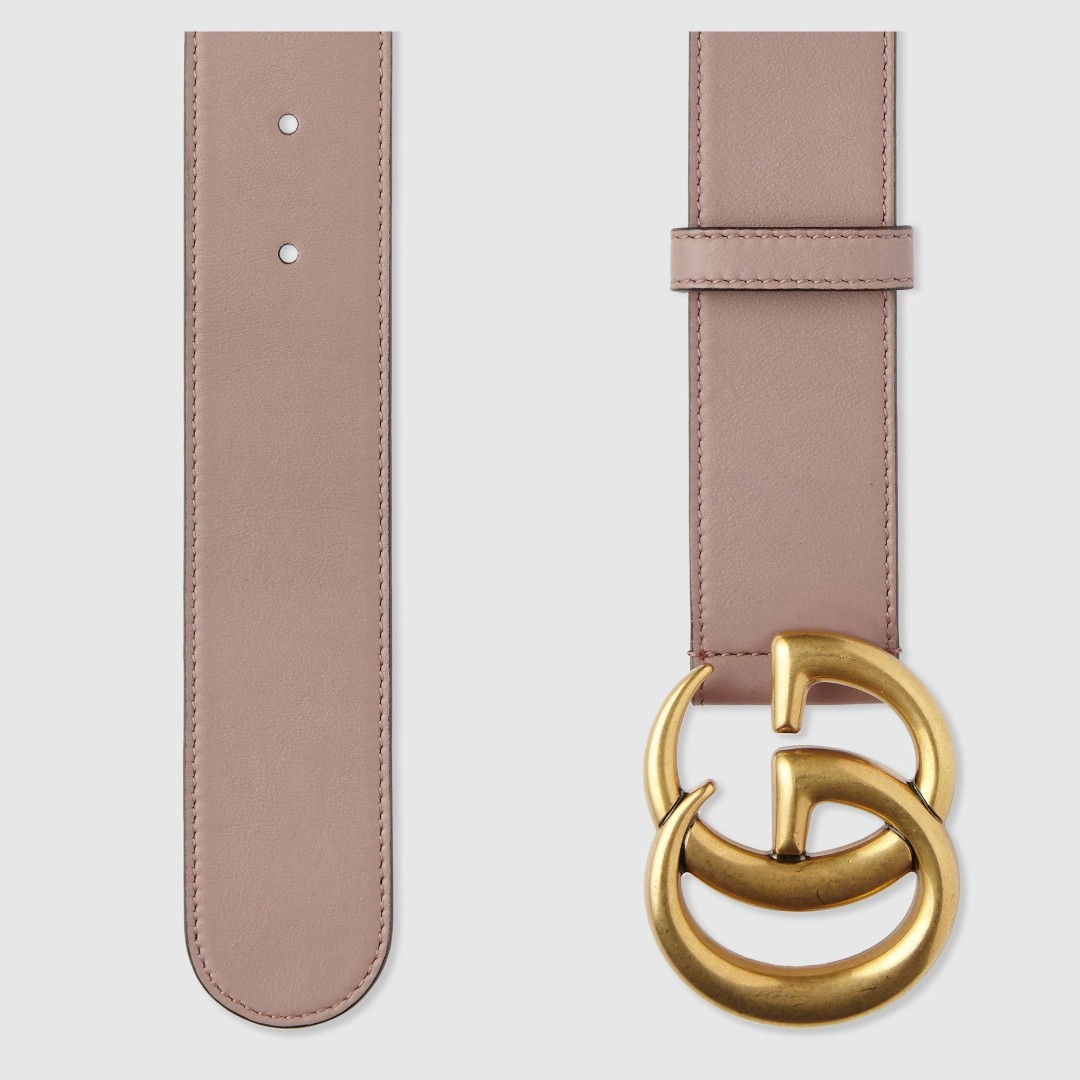 25fedeadb90 Dusty Pink Leather belt with Double G buckle