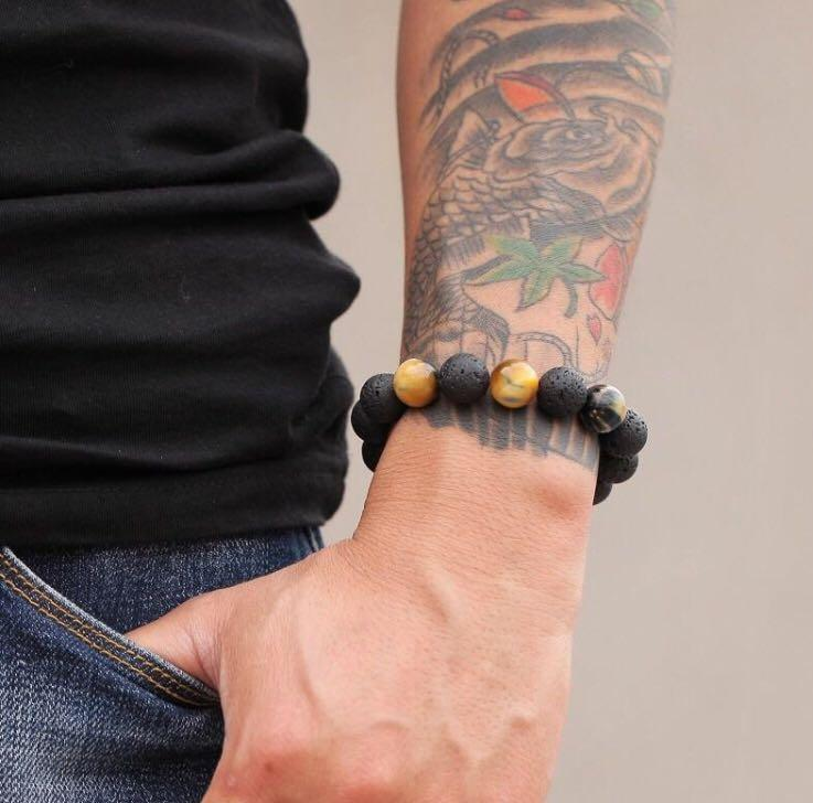 Men Lava Stone and Tiger Eye Bracelet Free Postage