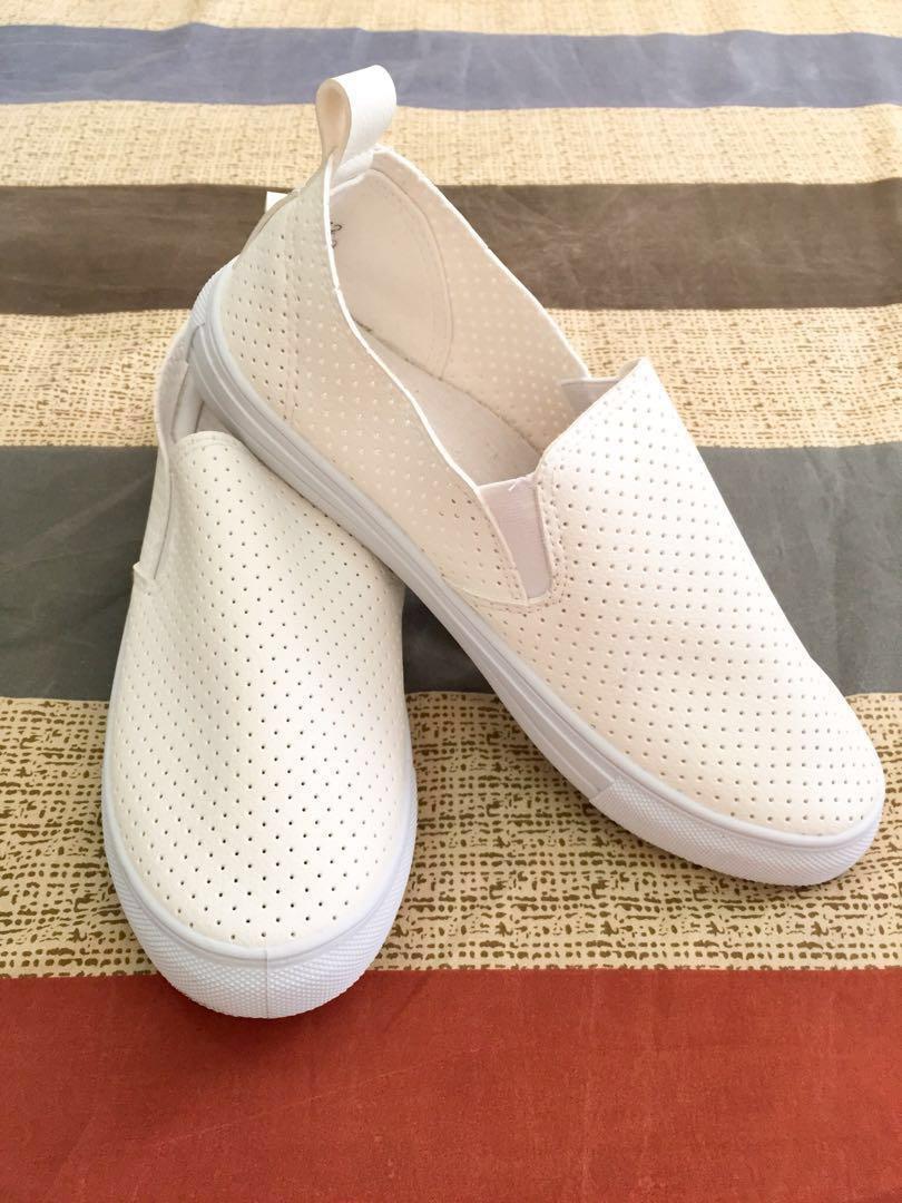 MENDREZ White Slip On Shoes, Women's