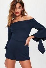 Misguided Navy Scuba Bardot Long Flared Sleeve Playsuit