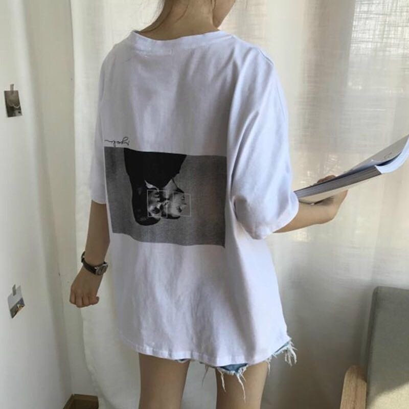 8c9e1fb3398 PO 2018 summer new chic korean style loose fit retro character print ...