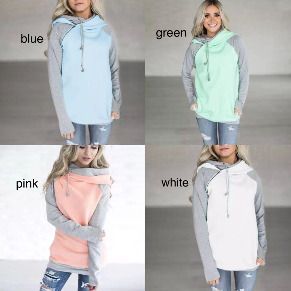 83bdd9667df86 (PO) S-XXXL Oversize Hoodies Sweatshirts Women Pullover Hoodie Female Patchwork  Double Hood Hooded Sweatshirt