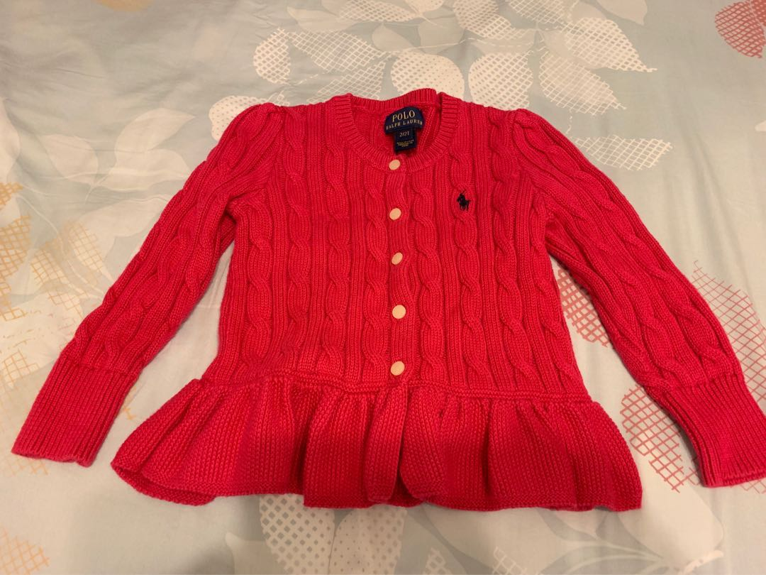 d2cd314b1 Polo Ralph Lauren Baby Girl Knitwear Cable Peplum Cotton Cardigan ...