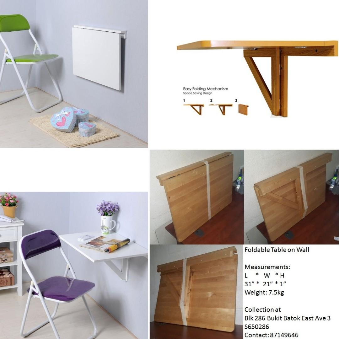 Reasonable Negotiate Wall Mounted Folding Table Desk Furniture Tables Chairs On Carousell