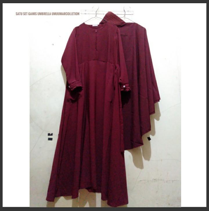 Satu Set Gamis Wolfis Umbrella Gamis Jilbab Cadar Fesyen
