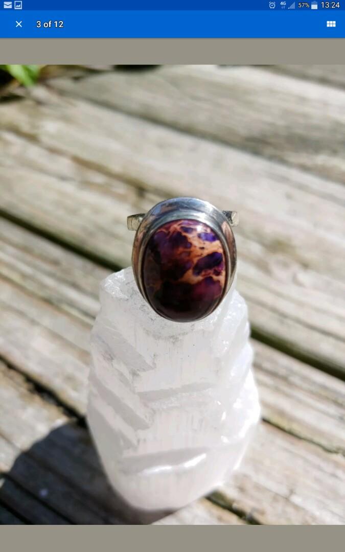 ffd80c6db2ae4 Vintage 925 silver Ring with imperial jasper stone