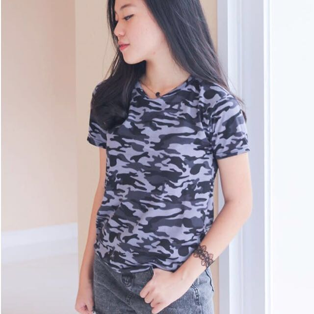 92dbeca126c2 Woman Tumblr Tee Tshirt Shirt Army Marble Plain Basic Top, Women's Fashion,  Clothes, Tops on Carousell