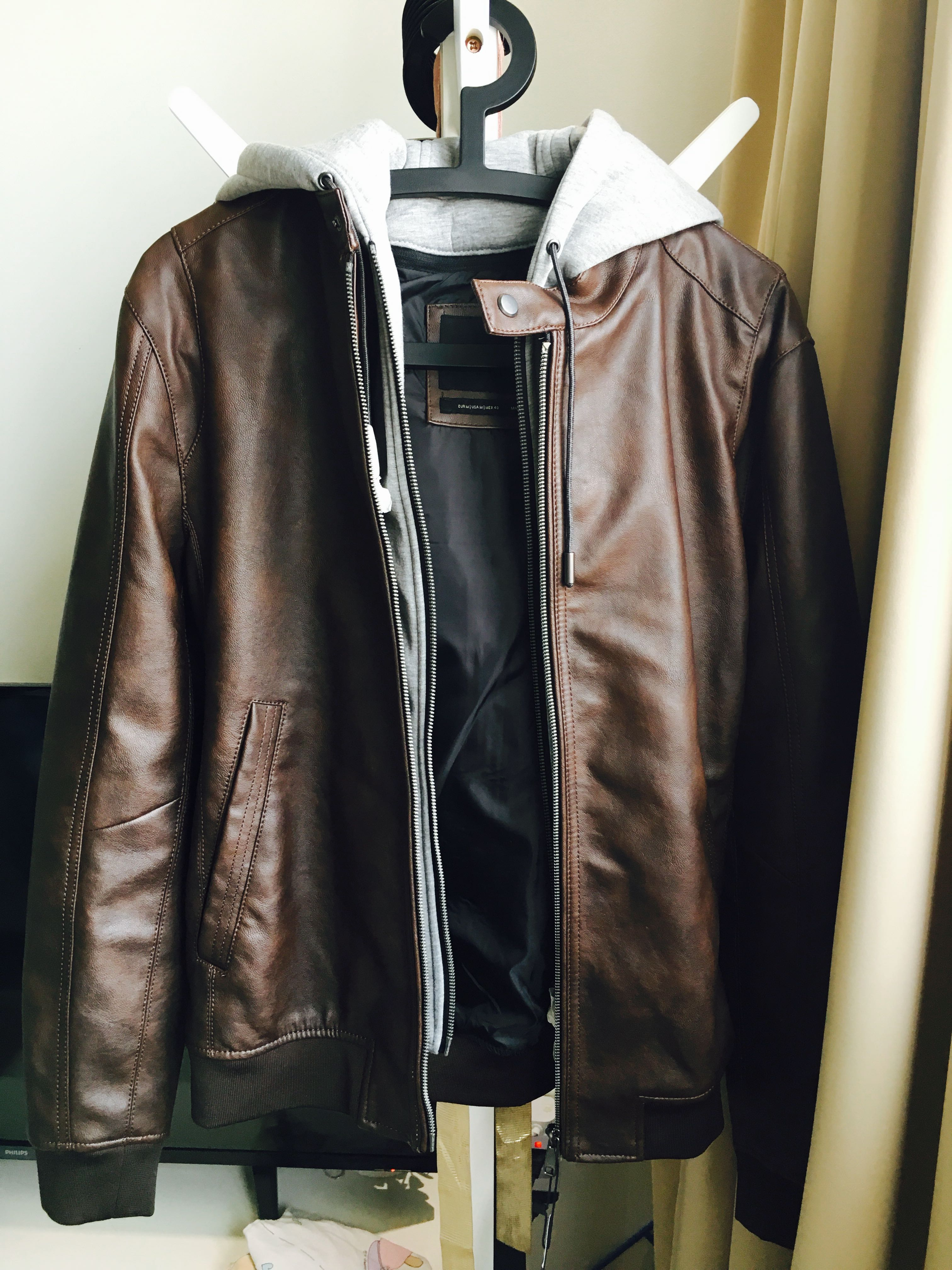 Zara Brand New Brown Leather Jacket Men S Fashion Clothes Tops