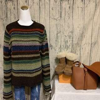 🚚 古著捲邊毛衣 復古撞色條紋羊毛衣