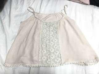 Nude Pink crochet lace spag flowy Top