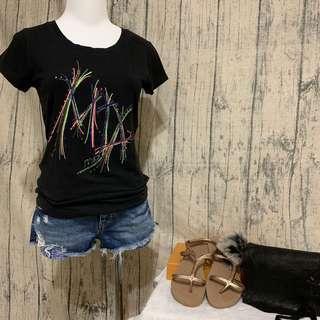 🚚 專櫃mia mia 水鑽亮片造型上衣 彈力短袖T恤