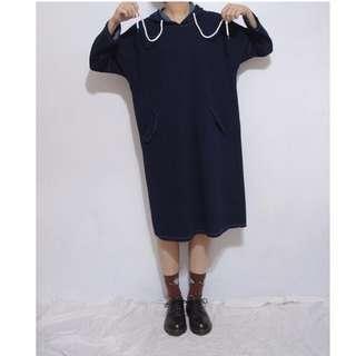。error dot。日本軟料丹寧車線連帽洋裝