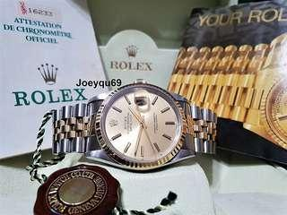 Men ROLEX DATEJUST 18K half gold with classic dial Excellent cond Warranty Cert/Box!
