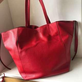 Celine cabas 二手正品 正紅大款托特包 肩背/手提 媽媽包 購物包(大降價)可換包