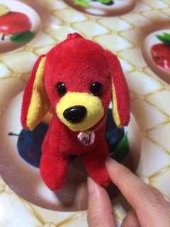 Cute lucky puppy in red w pink ringbell
