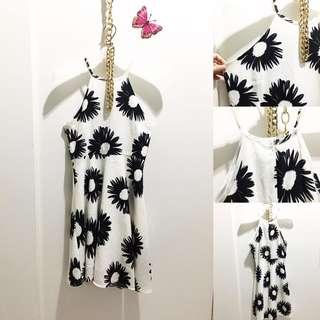 Dress White and Black Flowery size S