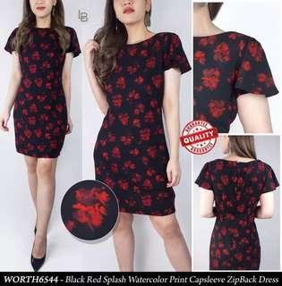 Worthington Black Red Splash Formal Dress Party