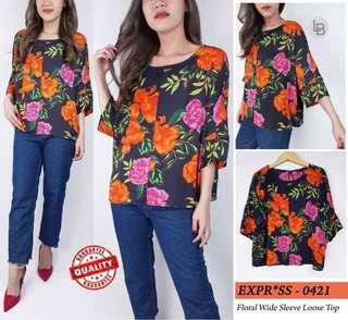 Express Floral Wide Loose Blouse