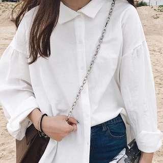 🚚 棉麻白襯衫!