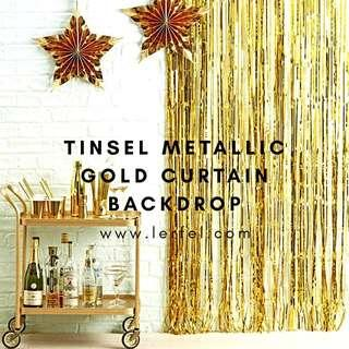 Tinsel Metallic Gold - Curtain Party Backdrops (Christmas / Birthday / Anniversary / Valentine / Proposal / Photobooth)