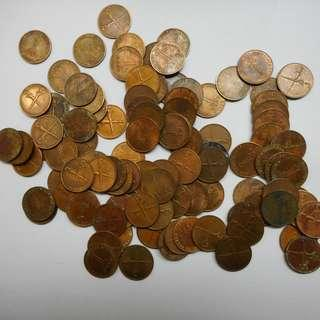 100 pieces malaya 1 cent 1962 coins