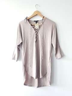 New taupe lace up top (tags on)