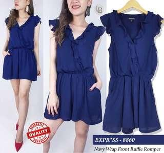 Express Navy Wrap Front Romper Casual Jumpsuit