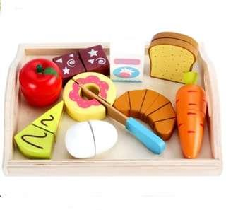 *In Stock* BN Wooden Magnetic Breakfast Afternoon Tea-time Snacks Treats Cutting Foods Kitchen Play Set w/ Tray