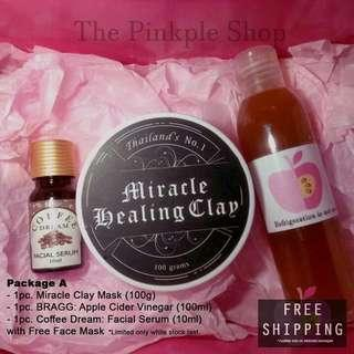 Thailand's No. 1 Miracle Healing Clay, Coffee Dream Facial Serum, & Bragg Apple Cider Vinegar