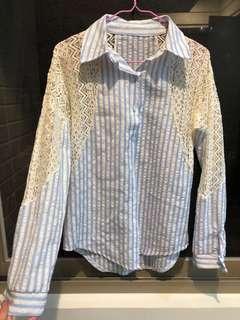 蕾絲直條紋長袖襯衫