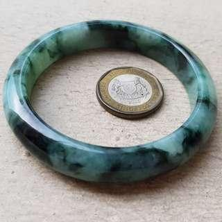 56mm Certified Type A Icy Jadeite Bangle Ice Green Floating Flower Jade