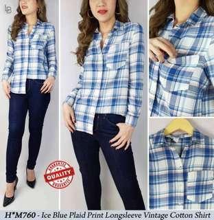 H&M Ice Blue Plaid Print Longsleeve Vintage Cotton Shirt